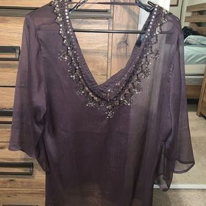 BKE Tops - Deep purple, Jewel Blouse.